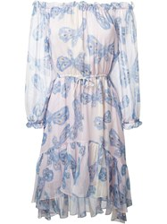 Diane Von Furstenberg Butterfly Print Dress Blue