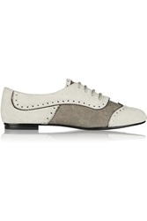 Balmain Suede And Canvas Loafers Gray