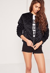 Missguided Quilted Satin Bomber Jacket Navy Blue