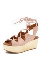 See By Chloe Liana Platform Lace Up Sandals Nude