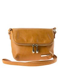 Kenneth Cole Reaction Wooster Street Leather Foldover Crossbody Bag Saddle Brown