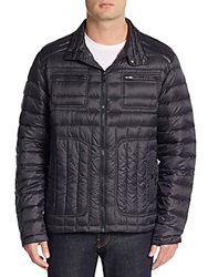Hawke And Co Packable Moto Quilted Down Jacket Black