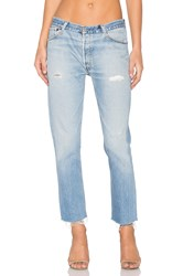Re Done Relaxed Cropped Jeans Destructed Blue