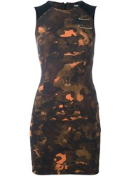 Versus Camouflage Print Fitted Dress Black