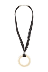 Topshop Resin Circle On Cord Necklace Black