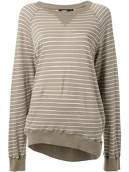 Bassike Striped Oversized Raglan Sweatshirt Green