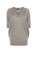 Karen Millen V Neck Fine Knit Tunic Grey