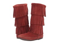 Minnetonka 3 Layer Fringe Boot Brandy Suede Women's Pull On Boots Tan
