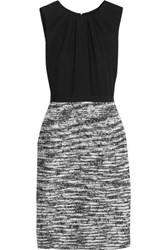 Oscar De La Renta Silk Crepe Chine And Boucle Tweed Dress Black