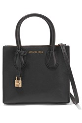 Michael Michael Kors Mercer Small Textured Leather Tote Black