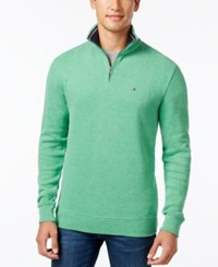 Tommy Hilfiger Men's Ribbed Quarter Zip Sweater Frost Grey