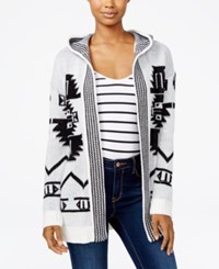 Hippie Rose Juniors' Hooded Aztec Cardigan Ivory Black Combo