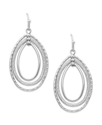 Charter Club Silver Tone Oval Orbital Earrings