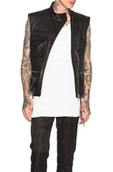 Haider Ackermann Crunched Leather Military Waistcoat In Black