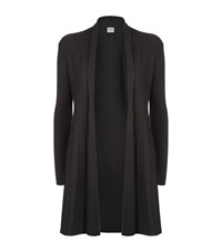 Armani Collezioni Ribbed Shawl Collar Cardigan Female Dark Grey