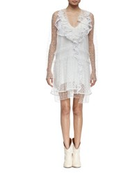 Chloe Ruffled Swiss Dot Mini Dress White