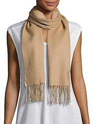 Yves Saint Laurent Wool And Cashmere Scarf Beige