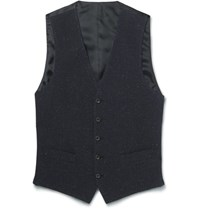 Thom Sweeney Blue Slim Fit Slub Cotton Wool And Silk Blend Waistcoat Midnight Blue