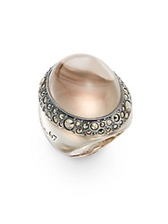 Pomellato 67 Oval Synthetic Smoky Quartz Marcasite Bezel And Sterling Silver Ring