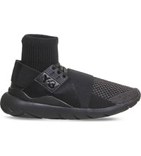 Adidas Y3 Qasa Elle Lace Knit Neoprene Trainers Black Mono Knit