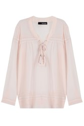 The Kooples Tie Front Peasant Blouse Rose