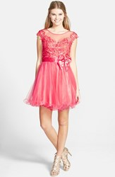 Women's Sean Collection Lace Bodice Fit And Flare Dress
