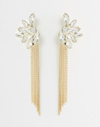 Love Rocks Rhinestone Tassel Earrings Gold