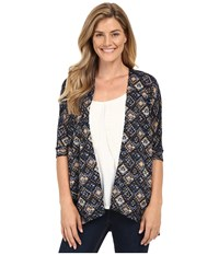 Stetson Aztec Tapestry Print Short Sleeve Knit Cardigan Blue Women's Sweater