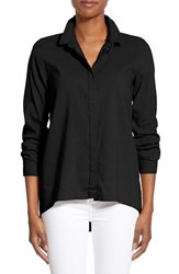 Women's Eileen Fisher Organic Linen Blend Classic Collar Shirt Black