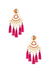 Mercedes Salazar Drop Tassel Earring Metallic Gold