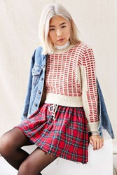 Urban Renewal Recycled Plaid Flannel Mini Skirt Red
