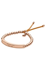 Michael Kors Rose Goldtone Bead And Logo Plaque Stretch Bracelet