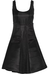 Badgley Mischka Striped Neoprene Dress Black