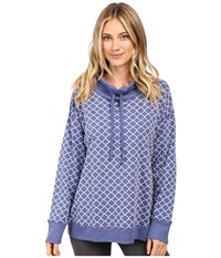 Carole Hochman Popover Top With Flocking Blue Medallions Women's Pajama
