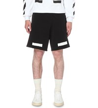 Off White C O Virgil Abloh Stripe Print Cottton Jersey Shorts Blk Wht