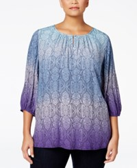 Charter Club Plus Size Printed Ombre Tunic Only At Macy's English Plum Combo