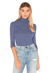 Atm Anthony Thomas Melillo Long Sleeve Micro Modal Mock Neck Top Blue