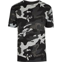 River Island Mens Black Metallic Camo T Shirt