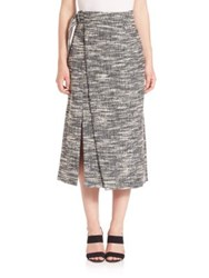 Apiece Apart Space Dyed Slitted Skirt Navy Tweed
