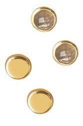 Argentovivo 18K Gold Plated Sterling Silver Stone Circle Stud Earring Set Metallic