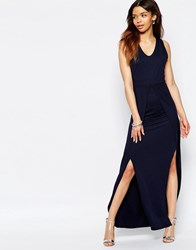 Wal G Maxi Dress With Side Splits Navy