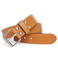Carhartt Camel Coloured Shind Leather Belt With Embossed Pattern