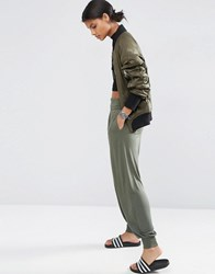 Asos Harem Pants In Jersey Green