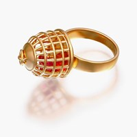 Openjart Cage Ring With Blue Sapphire18k Gold Plated Sterling Silver With Pink Lab Grown Sapphire 5 5.5 6.5