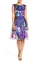 Tahari Women's Print Organza Fit And Flare Dress Navy Currant Purple