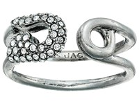 Marc Jacobs Charms Pave Safety Pin Ring Crystal Antique Silver Ring