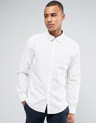 Esprit Slim Fit Long Sleeve Shirt With All Over Ditsy Print White 110