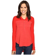 Splendid Thermal Mixed Media Henley Fiesta Women's Long Sleeve Pullover Red
