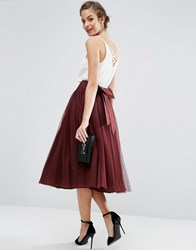 Asos Bow Back Tulle Prom Skirt Oxblood Pink