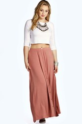 Boohoo Button Through Maxi Skirt Brick Red
